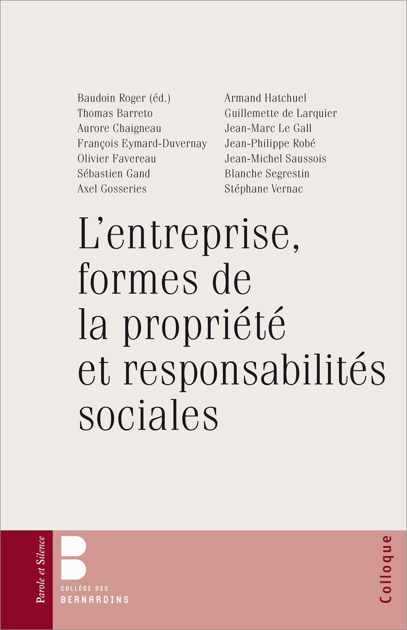 L'entreprise, formes de la propriété et responsabilité
