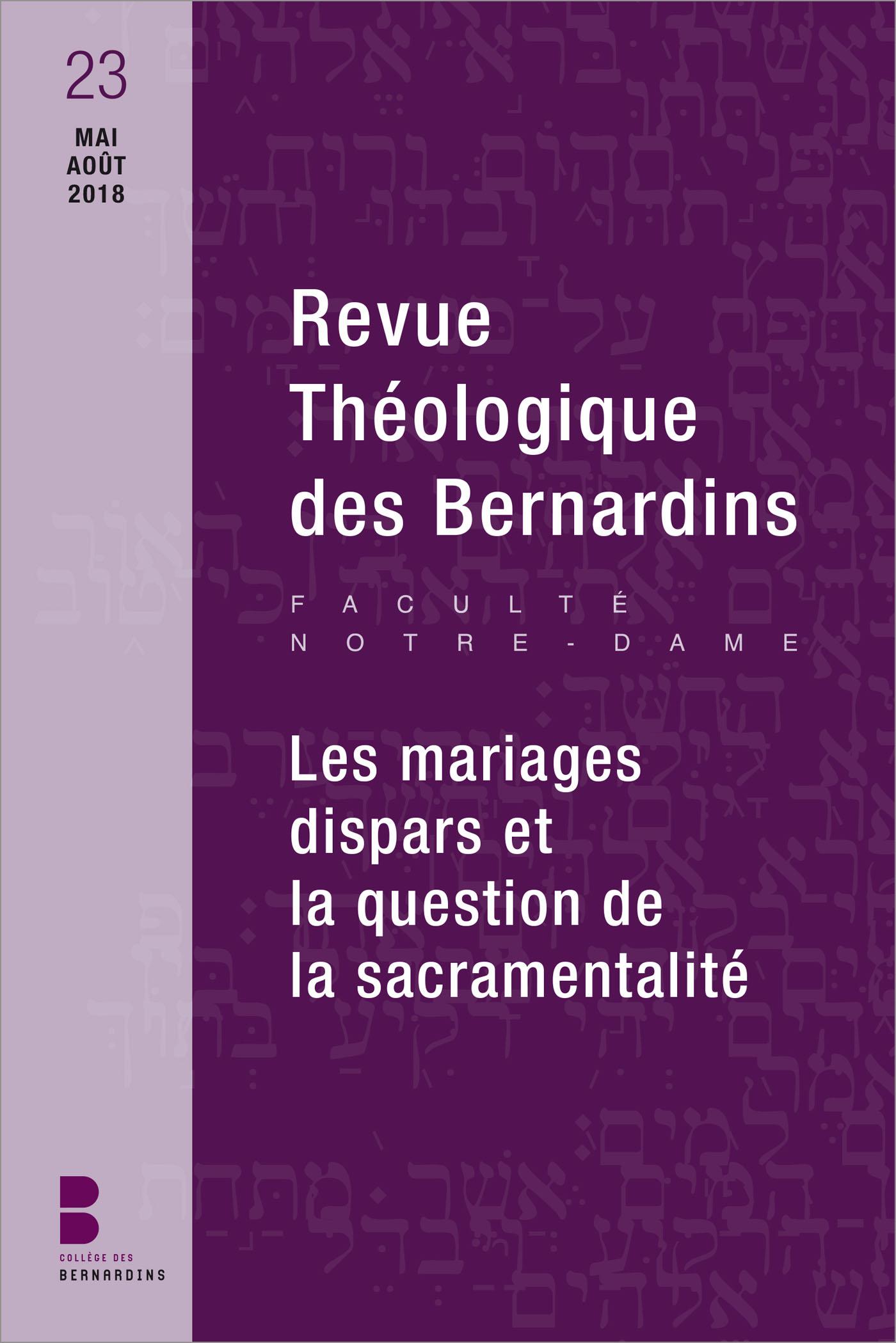Revue Théologique des Bernardins n°23
