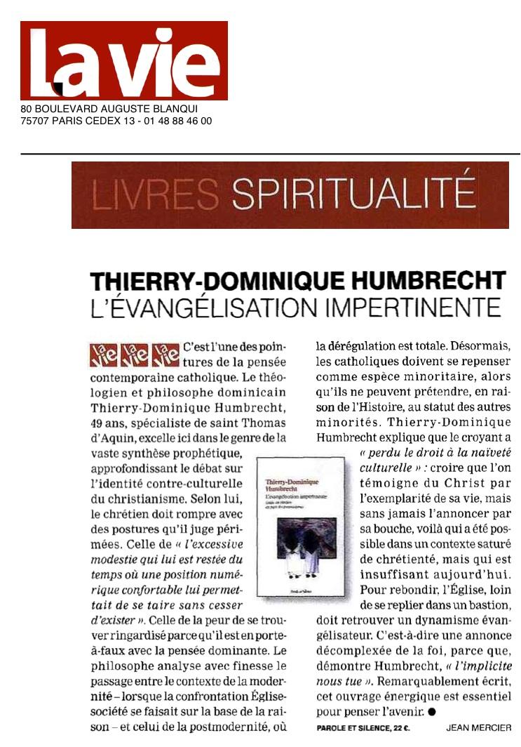 L'Evangélisation Impertinente de Thierry-Dominique Humbrecht dans La Vie